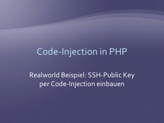 Code-Injection in PHP