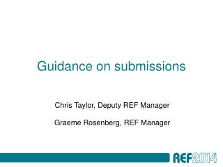 Guidance on submissions