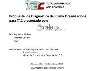 Propuesta  de Diagnóstico del Clima Organizacional para TAC presentado por: