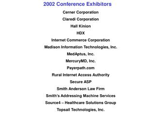 2002 Conference Exhibitors