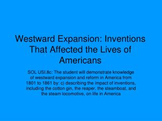 Westward Expansion: Inventions That Affected the Lives of Americans