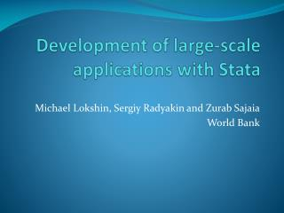Development of large-scale applications with Stata
