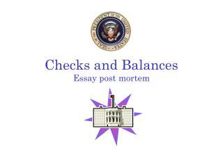Checks and Balances Essay post mortem