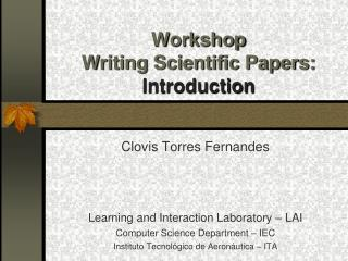 Workshop Writing Scientific Papers: Introduction