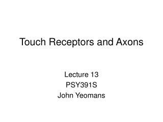 Touch Receptors and Axons