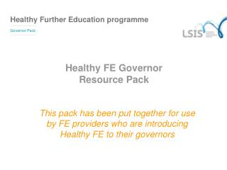 Healthy FE Governor  Resource Pack