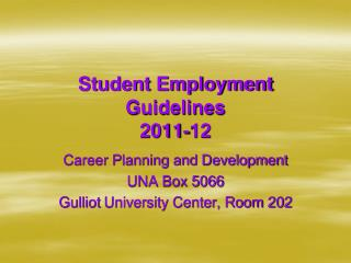 Student Employment Guidelines 2011-12