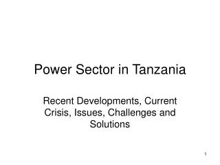 Power Sector in Tanzania