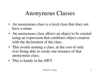 Anonymous Classes