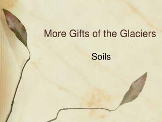 More Gifts of the Glaciers