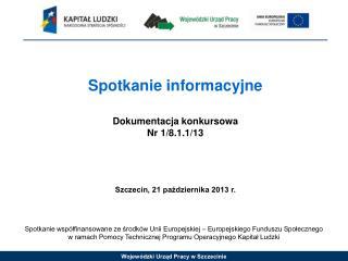 Spotkanie informacyjne Dokumentacja konkursowa Nr 1/8.1.1/13 Szczecin, 21 pa?dziernika 2013 r.