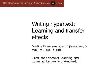 Writing hypertext: Learning and transfer effects