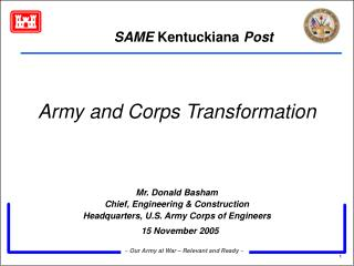 Army and Corps Transformation