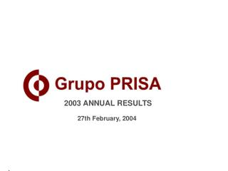 2003 ANNUAL RESULTS