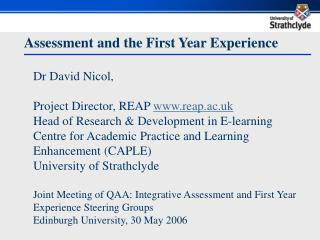 Assessment and the First Year Experience