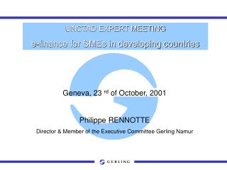 UNCTAD EXPERT MEETING e-finance for SMEs in developing countries