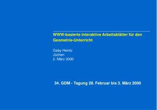 WWW-basierte interaktive Arbeitsblätter für den Geometrie-Unterricht