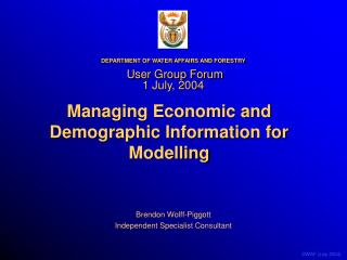 Managing Economic and Demographic Information for Modelling