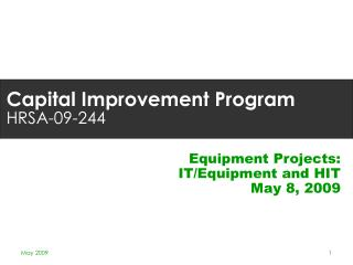 Capital Improvement Program HRSA-09-244
