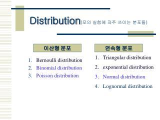 Distribution ( 모의 실험에 자주 쓰이는 분포들 )