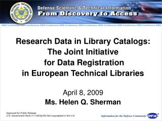 Research Data in Library Catalogs: The Joint Initiative  for Data Registration