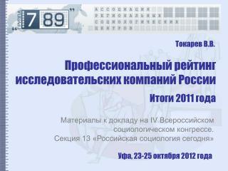 Профессиональный рейтинг исследовательских компаний России