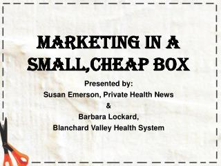 Marketing in a Small,Cheap Box Presented by: Susan Emerson, Private Health News &