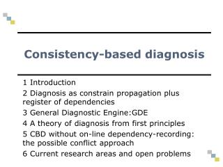 Consistency-based diagnosis