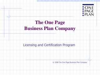 The One Page Business Plan Company