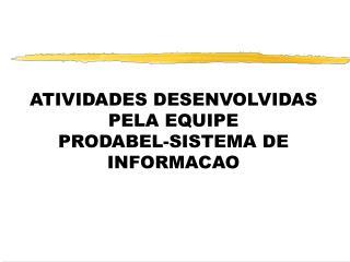 ATIVIDADES DESENVOLVIDAS PELA EQUIPE  PRODABEL-SISTEMA DE INFORMACAO