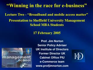 """""""Winning in the race for e-business"""""""
