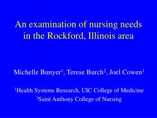 An examination of nursing needs in the Rockford, Illinois area