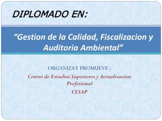 """Gestion de la Calidad, Fiscalizacion y  Auditoria Ambiental"""