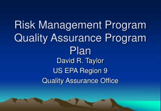 Risk Management Program Quality Assurance Program Plan