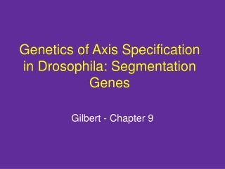 Genetics of Axis Specification in Drosophila: Segmentation Genes
