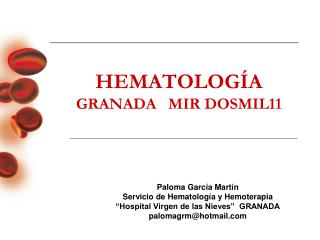 HEMATOLOGÍA GRANADA   MIR DOSMIL11