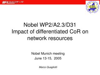 Nobel WP2/A2.3/D31 Impact of differentiated CoR on network resources