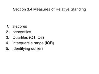 Section 3.4 Measures of Relative Standing