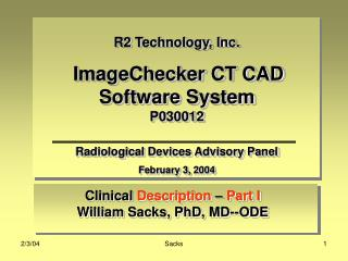 Clinical  Description  –  Part I William Sacks, PhD, MD--ODE