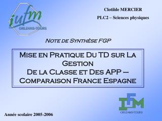 Note de Synthèse FGP Mise en Pratique Du TD sur La Gestion  De la Classe et Des APP –