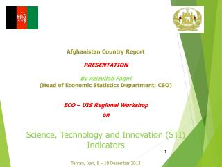Afghanistan Country Report PRESENTATION By Azizullah  Faqiri