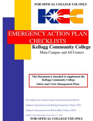 EMERGENCY ACTION PLAN CHECKLISTS