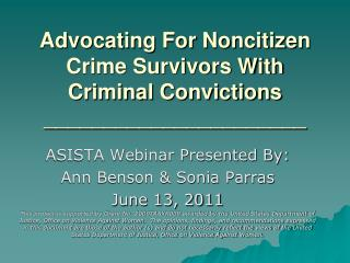 Advocating For Noncitizen Crime Survivors With Criminal Convictions ______________________