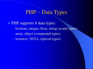 PHP – Data Types