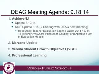 DEAC Meeting Agenda: 9.18.14