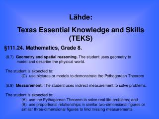 §111.24. Mathematics, Grade 8.