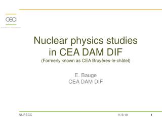 Nuclear physics in CEA DAM DIF in numbers