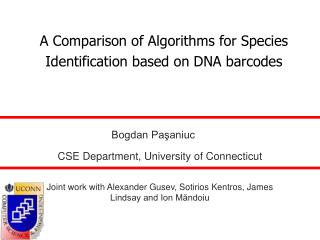 A Comparison of Algorithms for Species Identification based on DNA barcodes