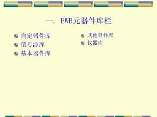 一.  EWB 元器件库栏