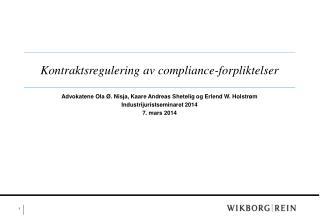 Kontraktsregulering av  compliance-forpliktelser